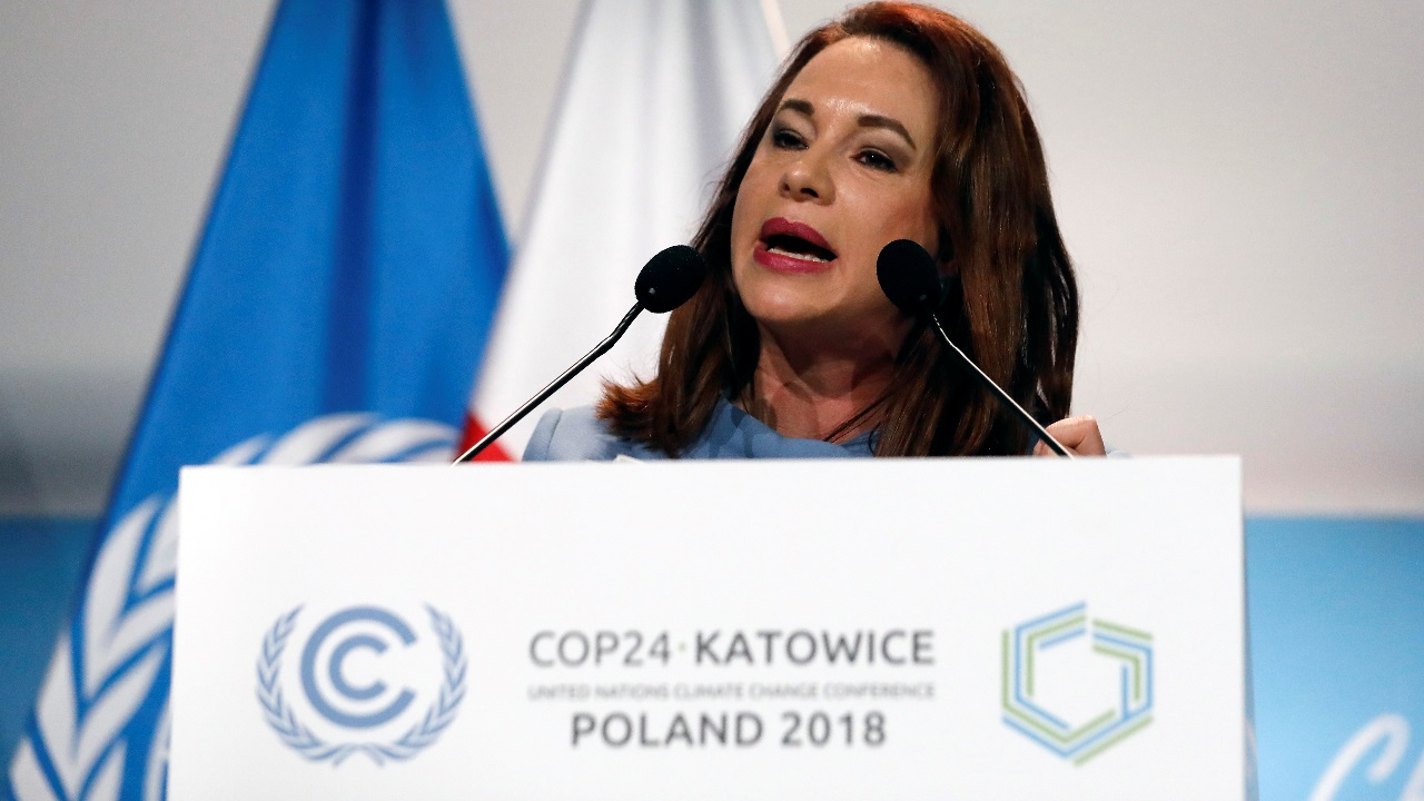 President of the UN General Assembly Maria Fernanda Espinosa Garces addresses during the opening of COP24 UN Climate Change Conference 2018 in Katowice, Poland. Image: Reuters