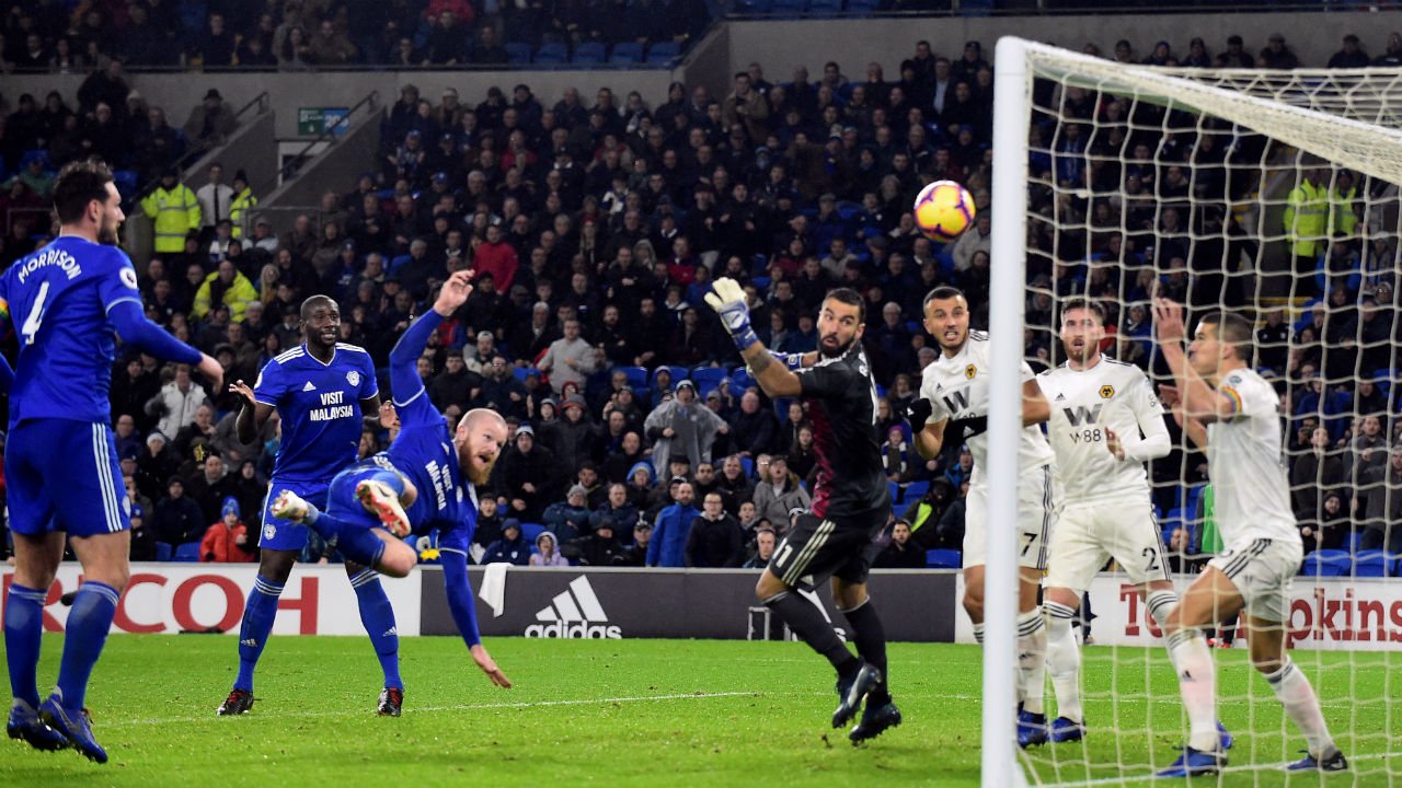 Cardiff City 2 - 1 Wolverhampton Wanderers | Forward Junior Hoilett scored a spectacular winner to earn Cardiff City a comeback win over over Wolverhampton Wanderers at the Molineux Stadium. Matt Doherty celebrated his 200th league appearance for Wolves when he fired the visitors into an 18th-minute lead before Aron Gunnarsson strike on the hour mark brought the match on level terms. Hoilett then sparked celebrations among the home fans with his wonder strike 13 minutes from time. The win helped Cardiff climb to 15th on 11 points while the Wolves are placed at 12th but extended their winless league run to six games. (Image: Reuters)