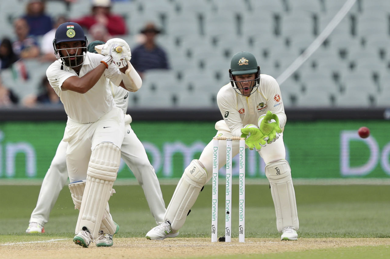 India's first innings hero Cheteshwar Pujara stitched a 71-run partnership with his captain Virat Kohli as India's lead swelled over 150 runs. (Image: AP)