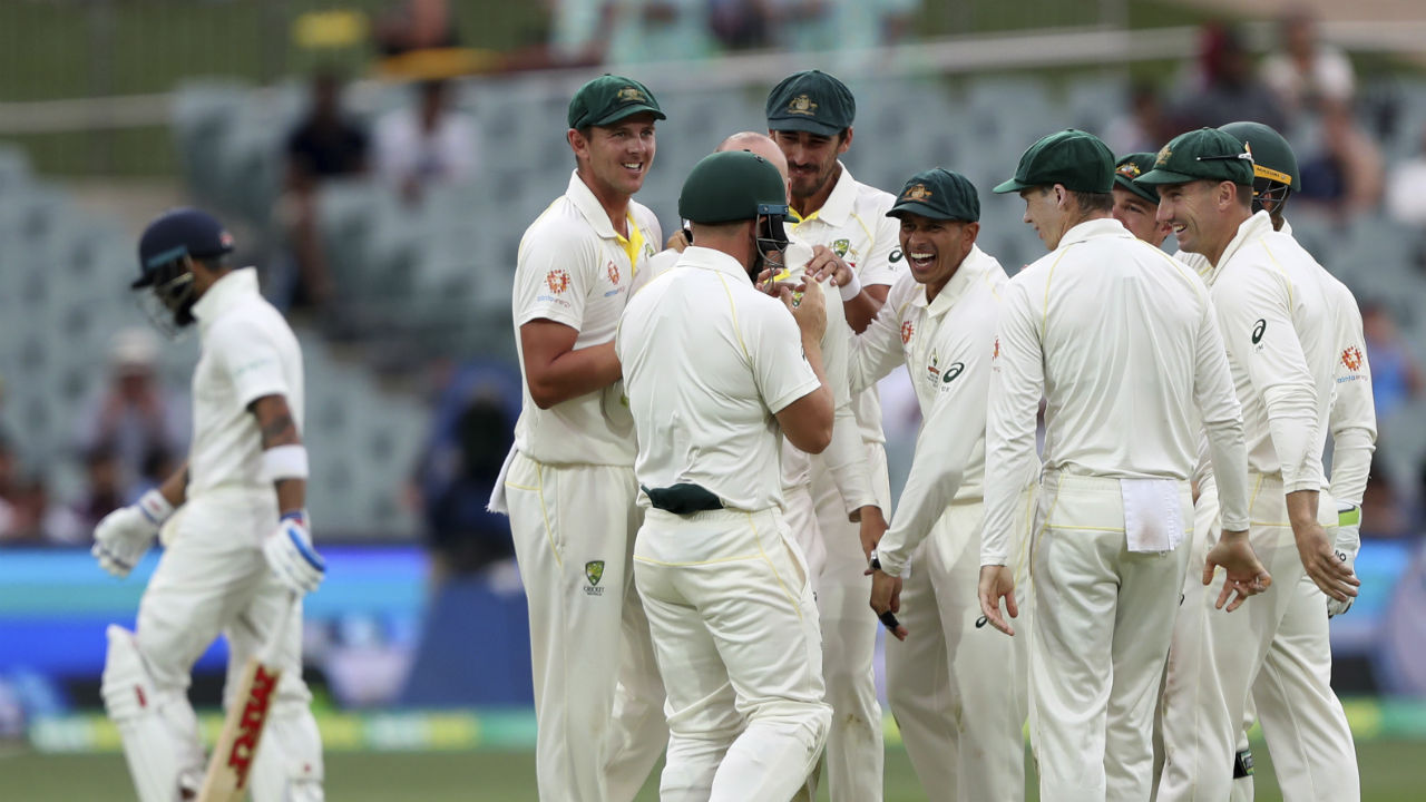 Lyon gave his team a massive boost towards the end of the day as he picked up the important wicket of Virat Kohli. The Indian skipper was dismissed on personal score of 34 runs. (Image: AP)