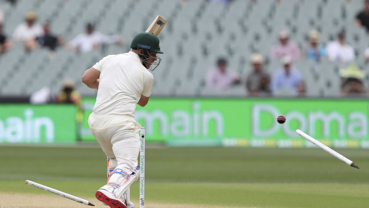 In reply to India's total of 250, the Australian innings started on a disastrous note as opener Aaron Finch was clean bowled on just the third ball of the innings by Ishant Sharma. (Image: AP)