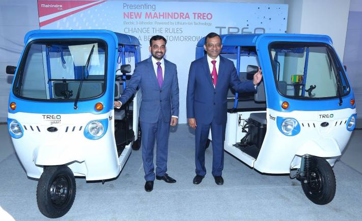 MAHINDRA TREO | Mahindra & Mahindra launched its first lithium-ion powered passenger three wheeler starting at Rs 1.36 lakh. The vehicle has a driving range of 130kms and takes nearly 4 hours to charge fully (Image source: Mahindra)