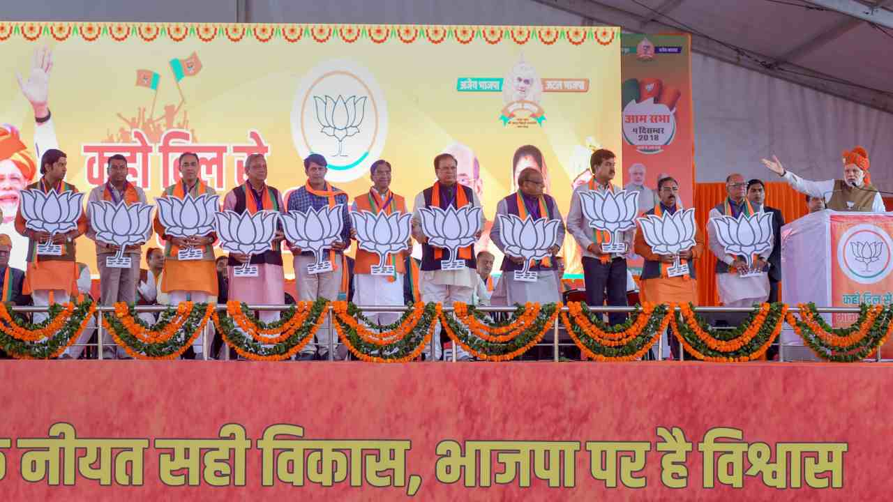 Prime Minister Narendra Modi addresses an election campaign rally in Jaipur. (Image: PTI)