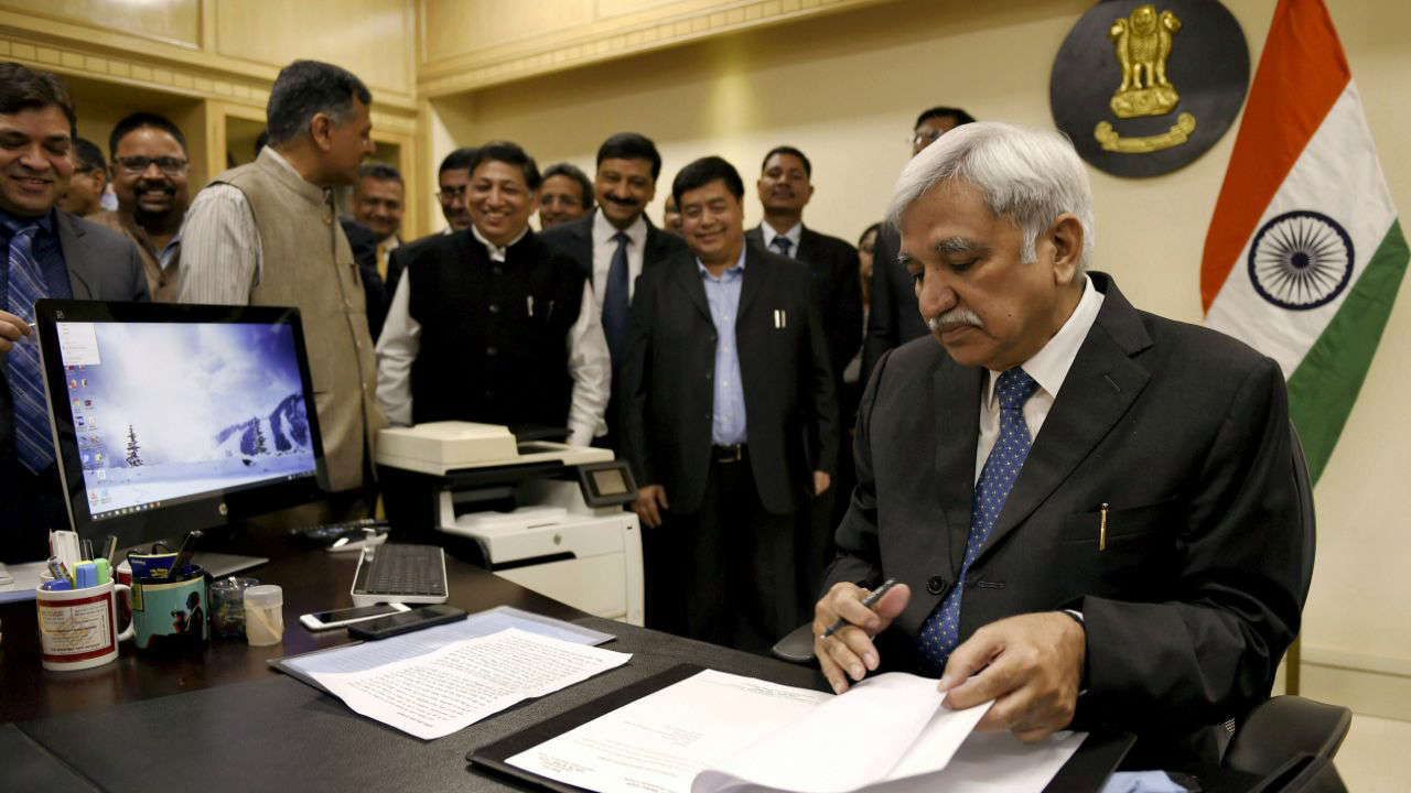 New Chief Election Commissioner Sunil Arora takes charge in his office in New Delhi. (PTI)