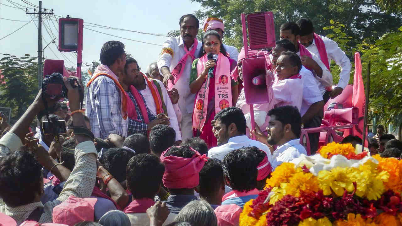 K Kavitha, senior TRS leader and daughter of Telangana Chief Minister K Chandrashekar Rao, campaigns for the party candidate in Nizamabad's Jagtial constituency. (Image: PTI)