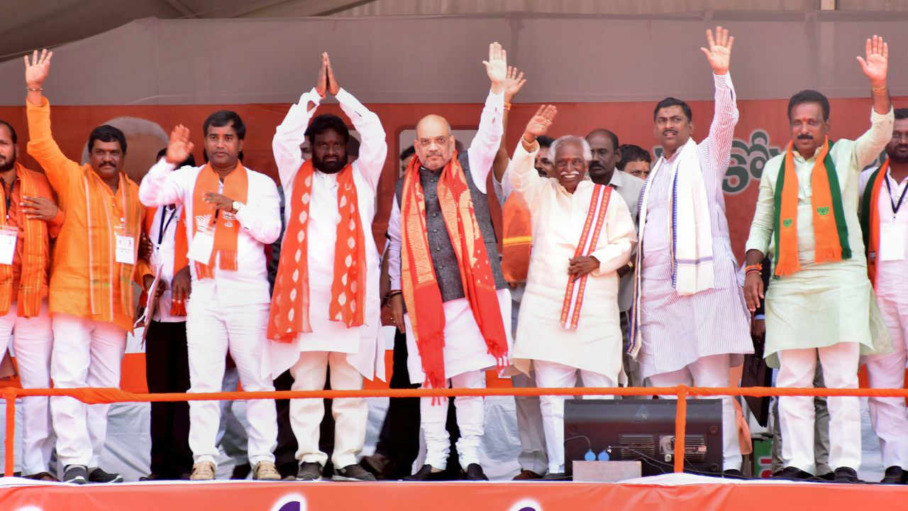 BJP National President Amit Shah at an election rally in support of the party candidates, in Amangal. (Image: PTI)