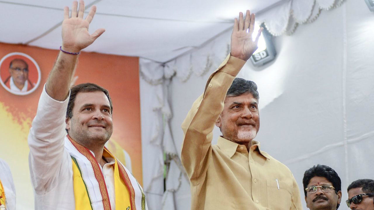 Congress President Rahul Gandhi and Andhra Pradesh Chief Minister N Chandrababu Naidu during an election rally ahead of the state Assembly elections in Gadwal. (Image: PTI)