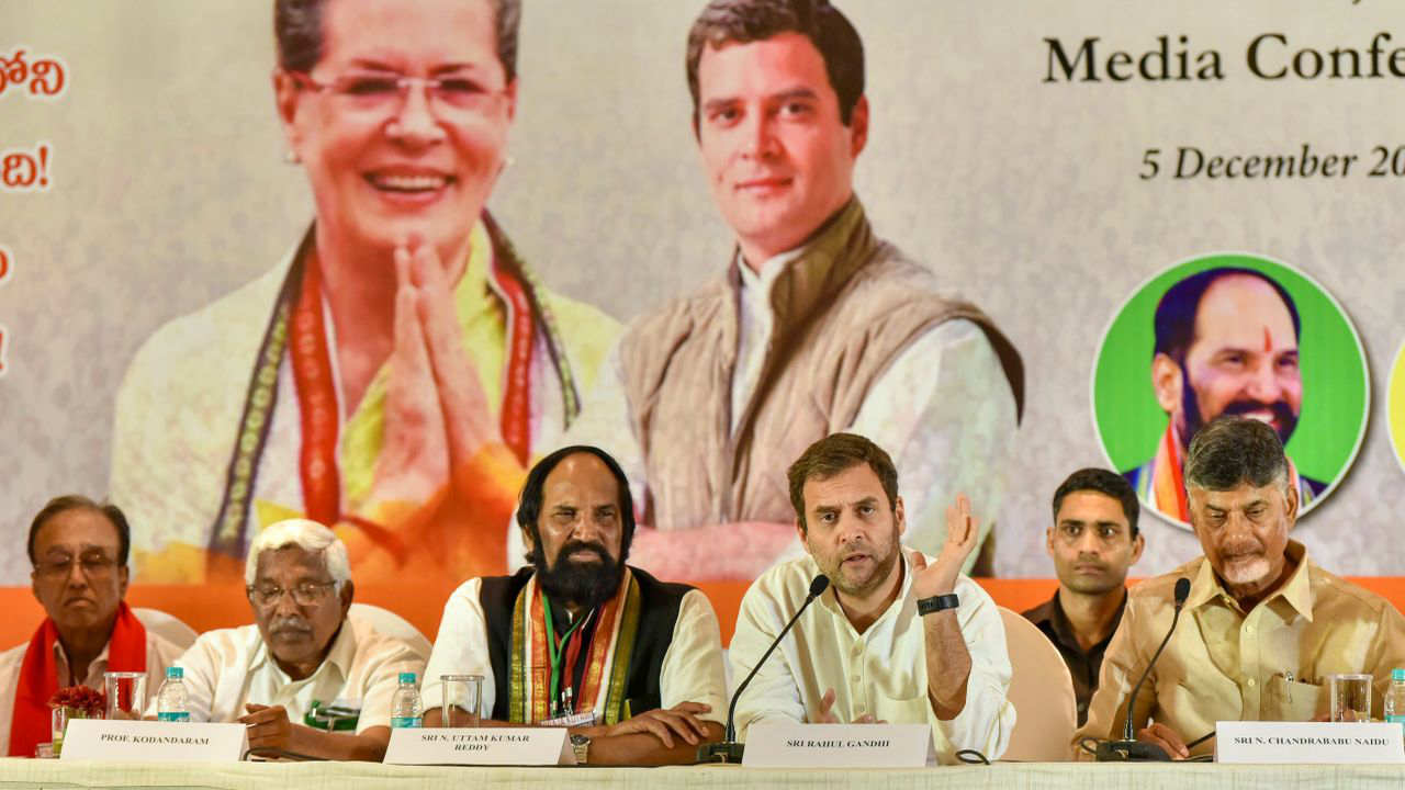 Congress President Rahul Gandhi, flanked by Andhra Pradesh Chief Minister N Chandrababu Naidu (R) and TPCC President N Uttam Kumar Reddy, at a joint press conference in Hyderabad. Also seen are Telangana Jana Samithi (TJS) chief Prof M Kodandaram (2nd L) and CPI General Secretary S Sudhakar Reddy (L). (Image: PTI)