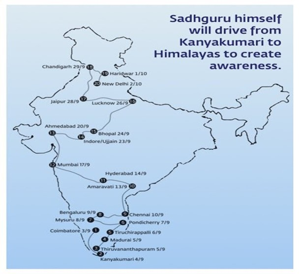 Q17. The image on the next slide shows a particular route undertaken by a Sadhguru to create awareness on protecting rivers. It started on 2nd September'17 and culminated on 2nd October'17. What was it called?