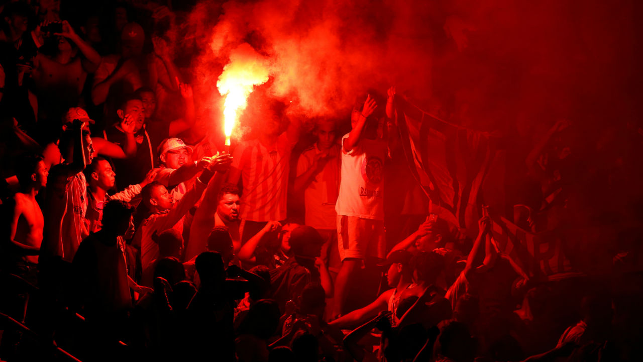Copa Sudamericana Final First Leg: Junior fans let off flares during the match between Junior and Atletico Paranaense at Metropolitano Stadium, Barranquilla, Colombia. (Image: Reuters)
