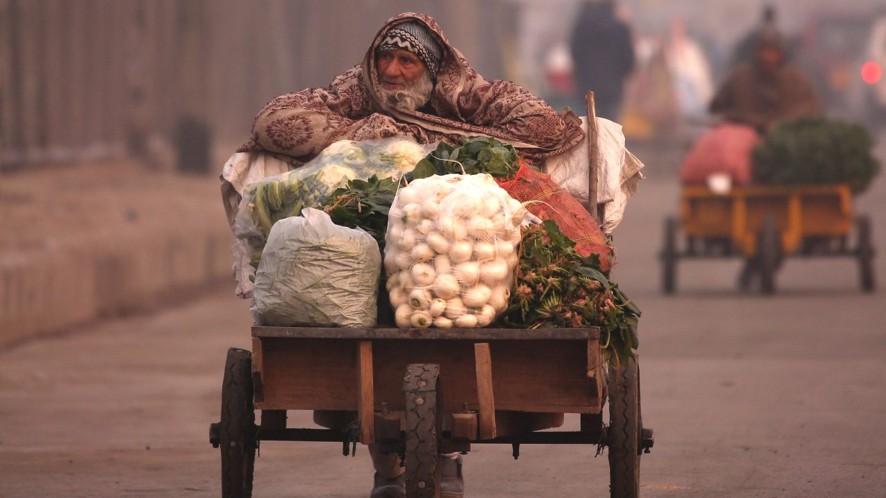A man pushes a handcart filled with vegetables on a cold winter morning in Srinagar. (Image: Reuters)