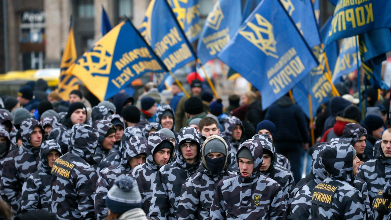 Activists of Ukraine's far-right parties attend a rally demanding to terminate diplomatic relations with Russia, at the Independence Square in Kiev, Ukraine. (Image: Reuters)