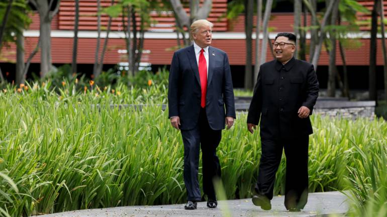 North Korea-United States summit: US President Donald Trump held a summit meeting North Korean supreme leader Kim Jong-un at the Capella Hotel in Singapore. The meeting assumed significance as the first-ever meeting between leaders of the two countries. (Image: Reuters)