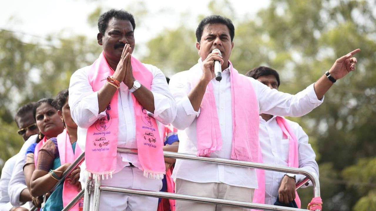 TRS leader KT Rama Rao addressing the crowd during a road show in Choppadandi. (Image Facebook/@KTRTRS)