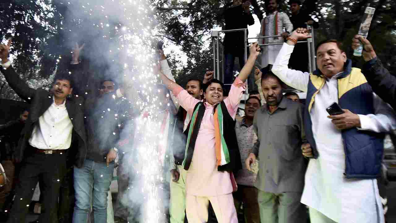 In pics | Congress begins celebrations as party leads in Rajasthan, Chhattisgarh