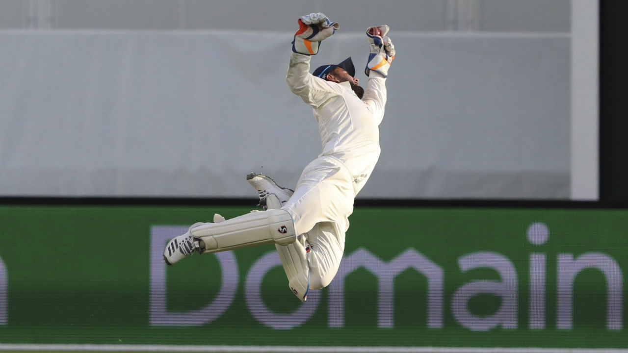 1st Indian keeper to take 11 catches in a Test | Pant equaled the world record for most catches taken in a Test when he latched onto 11 catches against Australia in Adelaide. Despite playing in only his sixth Test match, the 21-year-old eclipsed the Indian record of 10 catches set by Wriddhiman Saha. Only AB de Villiers and England's Jack Russell have previously taken 11 catches in a Test. (Image: AP)