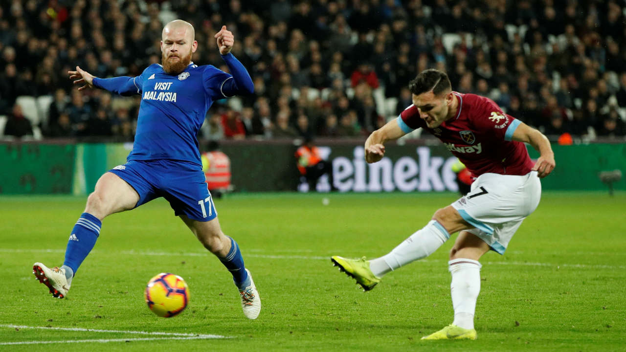 West Ham United 3 – 1 Cardiff | Lucas Perez came off the bench and scored twice within five minutes in the second half after replacing the injured Marko Arnautovic. Michail Anotnio headed in a third for West Ham before Josh Murphy bundled in a consolation goal for Cardiff with what was the last kick of the game. (Image: Reuters)