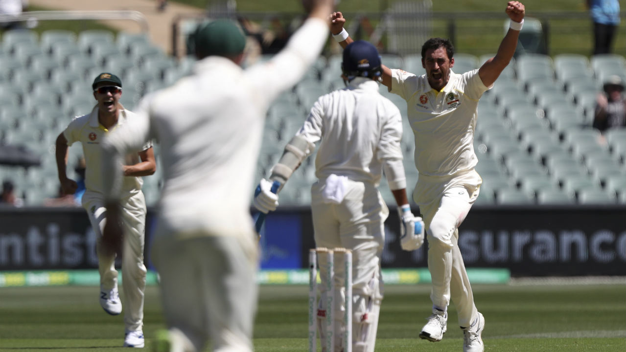 Mitchell Starc then sent Murali Vijay back in the 7th over, thus reducing India to 15/2. Vijay was caught behind the wickets by Aussie skipper Tim Paine. (Image: AP)