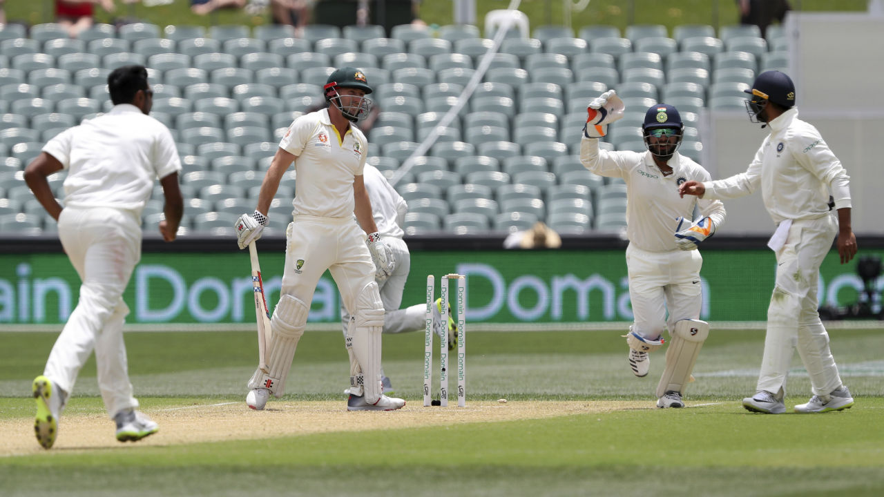 Ashwin gave India a good start in the second session as he castled Shaun Marsh in the very first over after Lunch. Marsh was looking to play an expansive drive but only got an inside edge onto the stumps. (Image: AP)