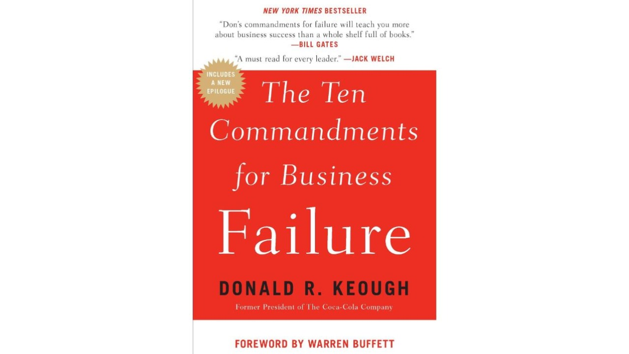 The Ten Commandments For Business Failure by Donald Keough | Enough books had been written about success, so Keough thought he would write on failure. He worked with The Coca-Cola Company for close to 40 years and retired as president and CEO, with enough experience of the ups and downs seen in most careers. According to Keough, a business can fail if it quits taking risks, is inflexible, isolates itself, assumes infallibility, doesn't take time to think, over-relies on experts and outside consultants, loves its bureaucracy and is afraid of the future among other things. It is a clearly detailed account of the pitfalls firms should avoid in order to continue remaining successful. I am not the only one recommending book. So are Warren Buffett, Bill Gates and Jack Welch! – Jitendra Gupta (Image: Amazon)