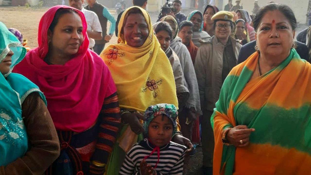 Rajasthan CM Vasundhara Raje at a pink polling booth in Jhalrapatan constituency of Jhalawar. (Image: Twitter/@VasundharaBJP)