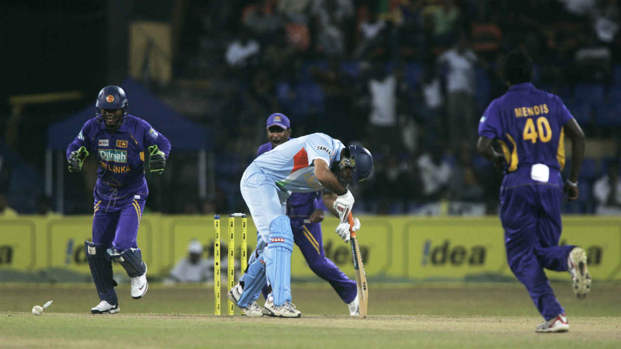 103 all-out vs Sri Lanka, Colombo, Aug 29 2008 | Sri Lanka were able to bowl out India on 103 thanks to its mystery spinner Ajanta Mendis. India were chasing a total of 227 and Menis picked up four wickets to break the back of Indian batting. The spinner finished with the figures of 4.3-2-10-4. India lost the match by 112 runs. (Image: Reuters)