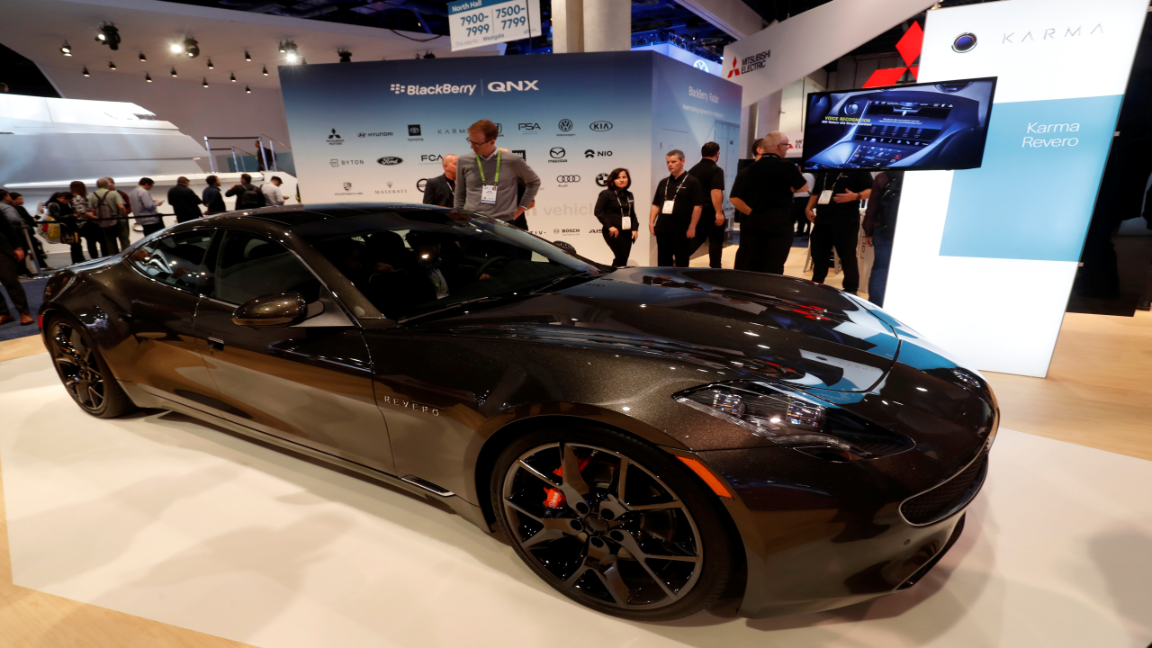 Karma Revero hybrid electric sports car with Blackberry technology is displayed at CES 2019. (Image Source: Reuters)