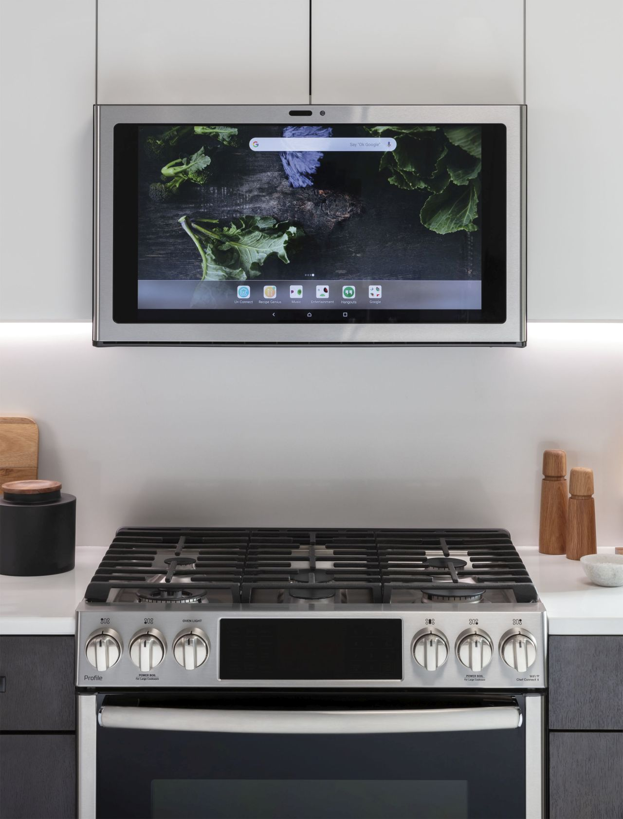 GE Appliances' smart Kitchen Hub provides convenient access to recipes, music, video chat and more