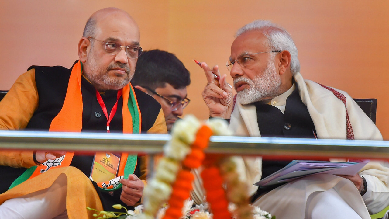Prime Minister Narendra Modi and BJP President Amit Shah during the two-day BJP National Convention at Ramlila Ground, in New Delhi. (Image: PTI)