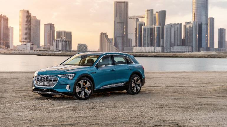 Audi E-Tron | The Audi E-Tron is a fully-electric compact luxury crossover SUV, which is based on Audi's e-Tron Quattro concept. The four-wheel drive dual-motor powertrain runs of a 95 kWh Li-ion battery and can run up to 400 km on a single charge.