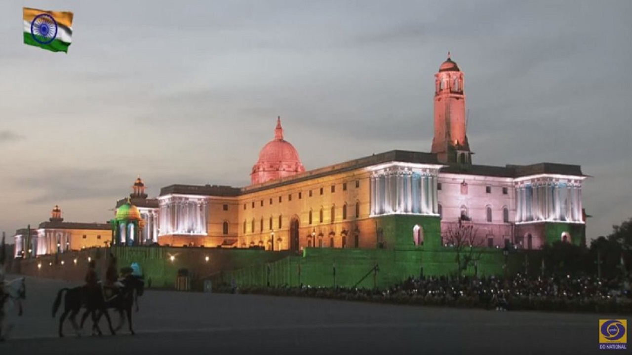 A Raj Bhavan lit in national colors is one of the many highlights of the ceremony. (Image: DD National, Twitter)