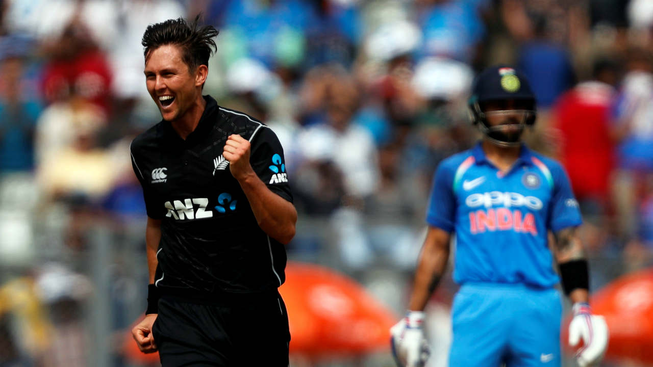 Trent Boult picked 6 wickets during the 2017-18 T20I series versus India. It is the highest tally of wickets in a series by a bowler among the two camps. (Image: Reuters)