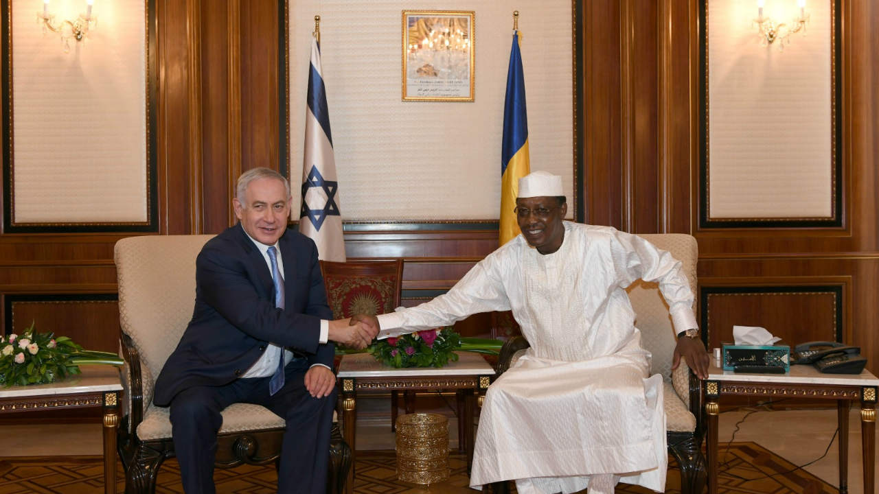 Israeli Prime Minister Benjamin Netanyahu shakes hands with Chad's President Idriss Deby, during their meeting in N'Djamena, Chad. (Image: Reuters)