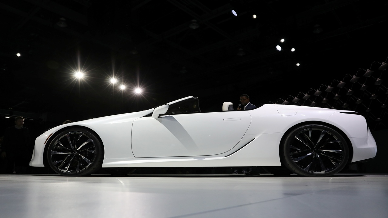 Probably the most realistic concept, the Lexus LC convertible concept could be the Japanese luxury car makers first roofless coupe. (Picture courtesy REUTERS/Brendan McDermid - RC15D967EE80)