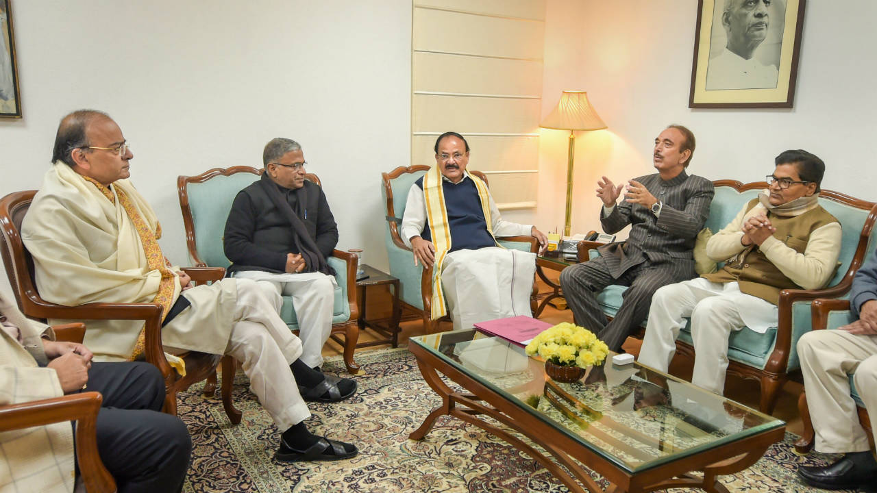 Vice President Venkaiah Naidu with Deputy Chairman Harivansh Narayan Singh, Finance Minister Arun Jaitley, Congress leader Ghulam Nabi Azad and Samajwadi Party leader Ramgopal Yadav at a meeting during the release of the Rajya Sabha 2019 calendar in New Delhi. (Image: PTI)