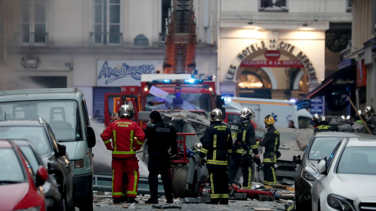 Firemen and police officers work at the site of an explosion in a bakery shop in the 9th District in Paris, France. (Image: Reuters)