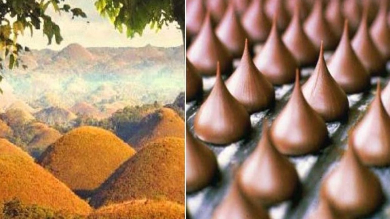 "Answer: Chocolate Hills, inspired by Hershey 's kisses. During the dry season, the grass-covered hills dry up and turn chocolate brown. This transforms the area into seemingly endless rows of Hershey's ""chocolate kisses"". Hence the name Chocolate Hills."