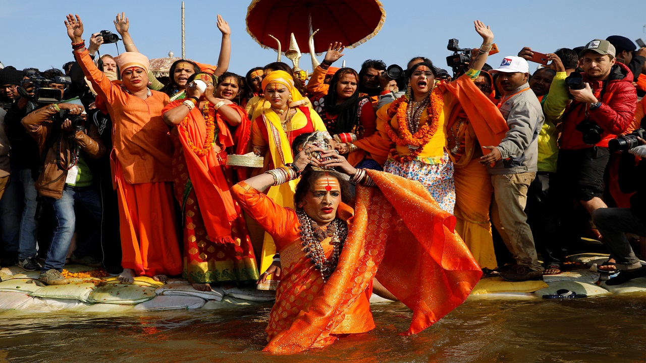 For the first time at the Kumbh Mela, a transgender ashram known as the Kinnar Akhara joined the first bathing day. The Ashram is led by rights activist Lakshmi Narayan Tripathi from Mumbai. (Image: Reuters)