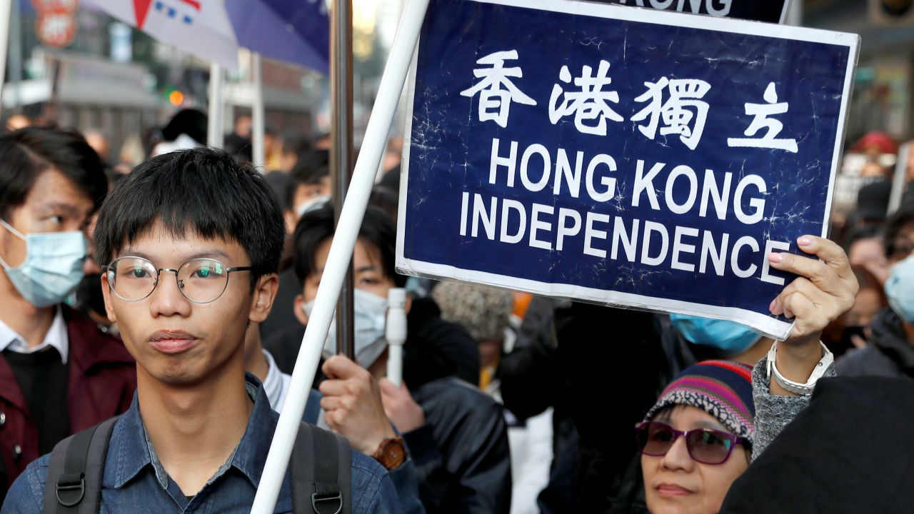 Pro-independence supporters take part in an annual New Year's Day march in Hong Kong, China. (Image: Reuters)