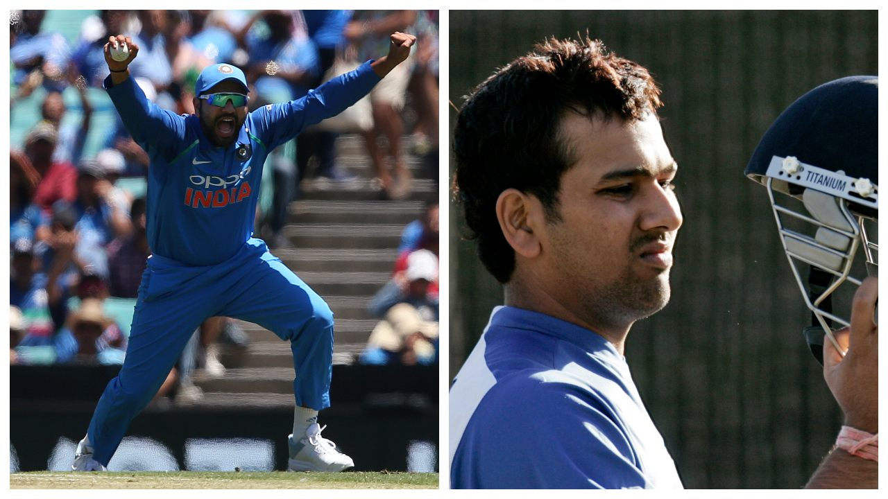 The transformation in Rohit Sharma's looks over the last decade can be captured in two snaps – 'before and after' style – one with the long stubble and one without it. (Image: Reuters)