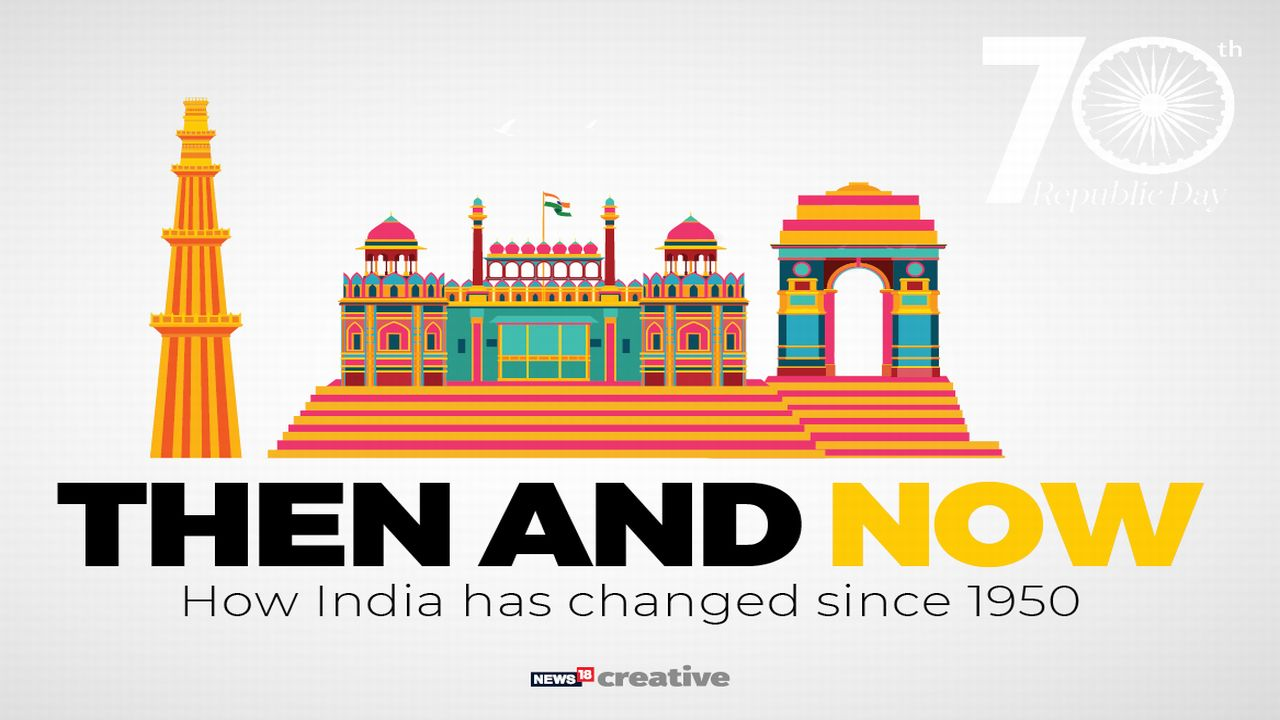 As India celebrates 70th Republic day, here is a slideshow to show India's transformation from the year 1950 to the year 2019 in different fields. (Image: Network 18 Creative)