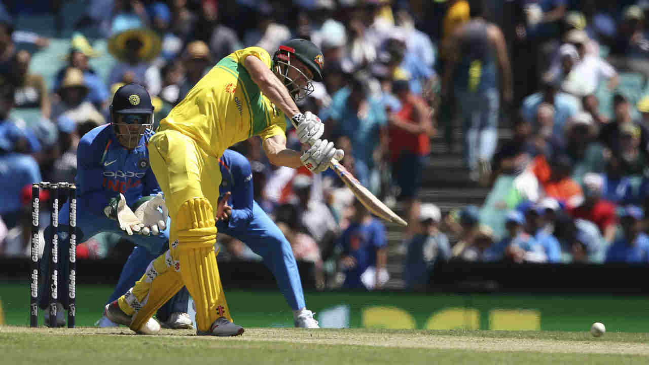 Shaun Marsh then tagged along with Peter Handscomb as they built a 53-run partnership off 55 balls. Marsh also brought up his 13th ODI fifty in the 36th over with a boundary off Khaleel Ahmed. Kuldeep Yadav then returned to the attack and scalped Marsh soon after as the Aussie holed out to Shami who took a good diving catch at long-on. (Image: AP)