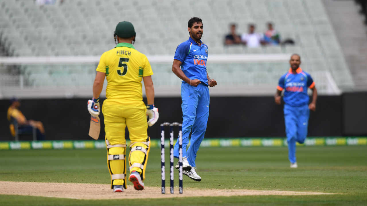 Bhuvneshwar Kumar gave India the perfect start as he sent back both openers early. He first got Alex Carey to edge a delivery straight to Virat Kohli at second slip in the 3rd over. Aaron Finch managed just 14 off 24 deliveries before Bhuvneshwar trapped him plumb in front of the wickets in the 9th over. Australia were down 2/27 after just 9 overs. (Image: AP)