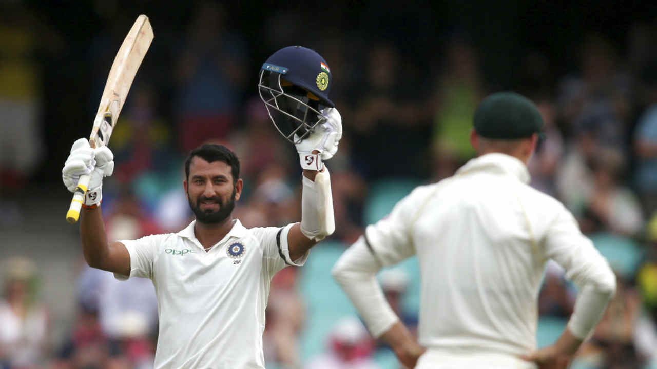 Nothing fazed Pujara as the batsman continued his rich vein of form to complete his third ton of the series. The century came when he played last ball of the 73rd over towards square-leg for a boundary. Overall it was the batsman's 18th Test century. (Image: AP)