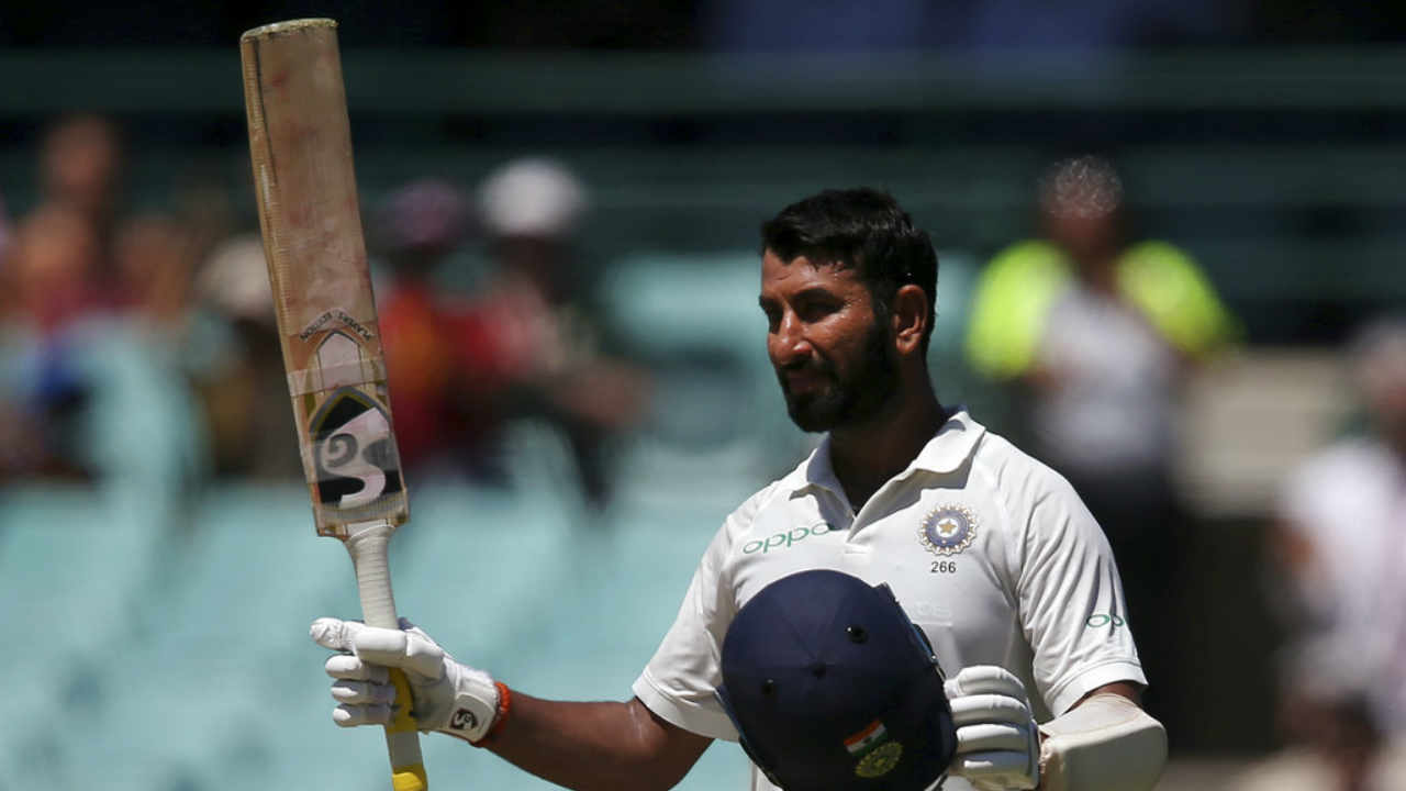 Pujara completed his 150 runs for the innings in the similar manner as he completed his century. The batsman scored a boundary off Nathan Lyon and completed his hundred and fifty runs in the 102nd over. (Image: AP)