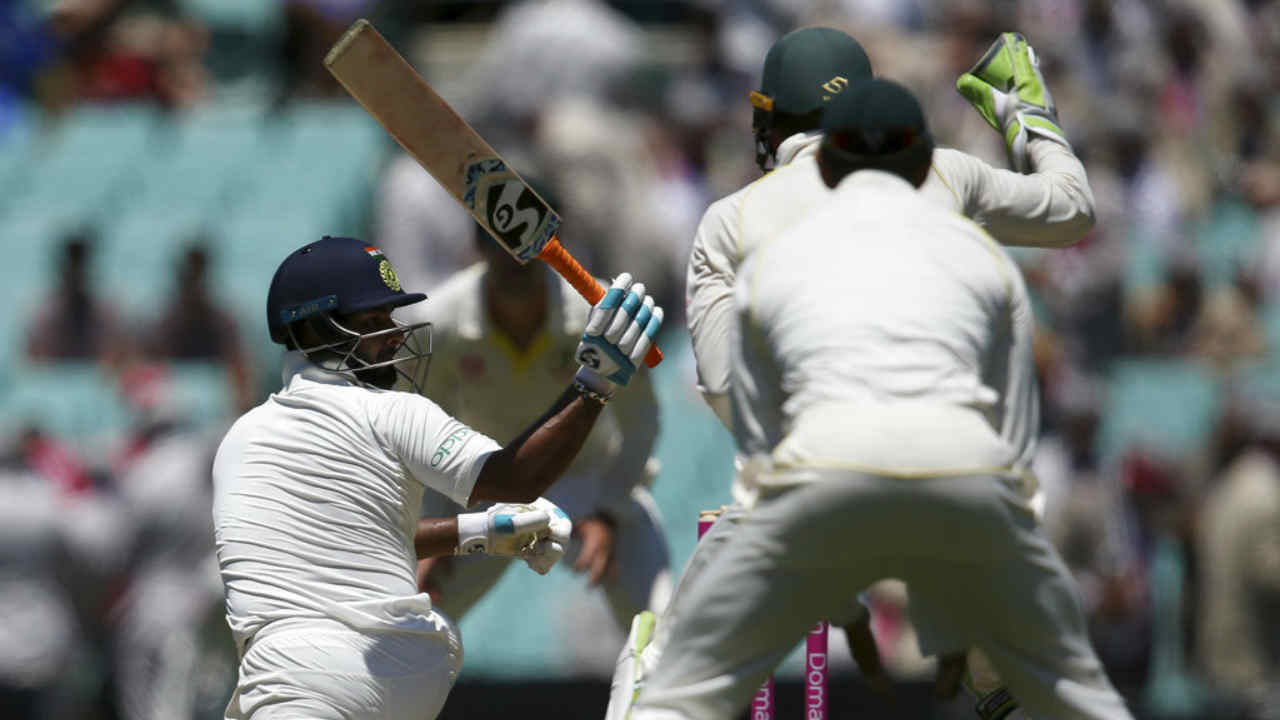 Rishabh Pant then batted along with Pujara to take India to 389/5 at Lunch. (Image: AP)