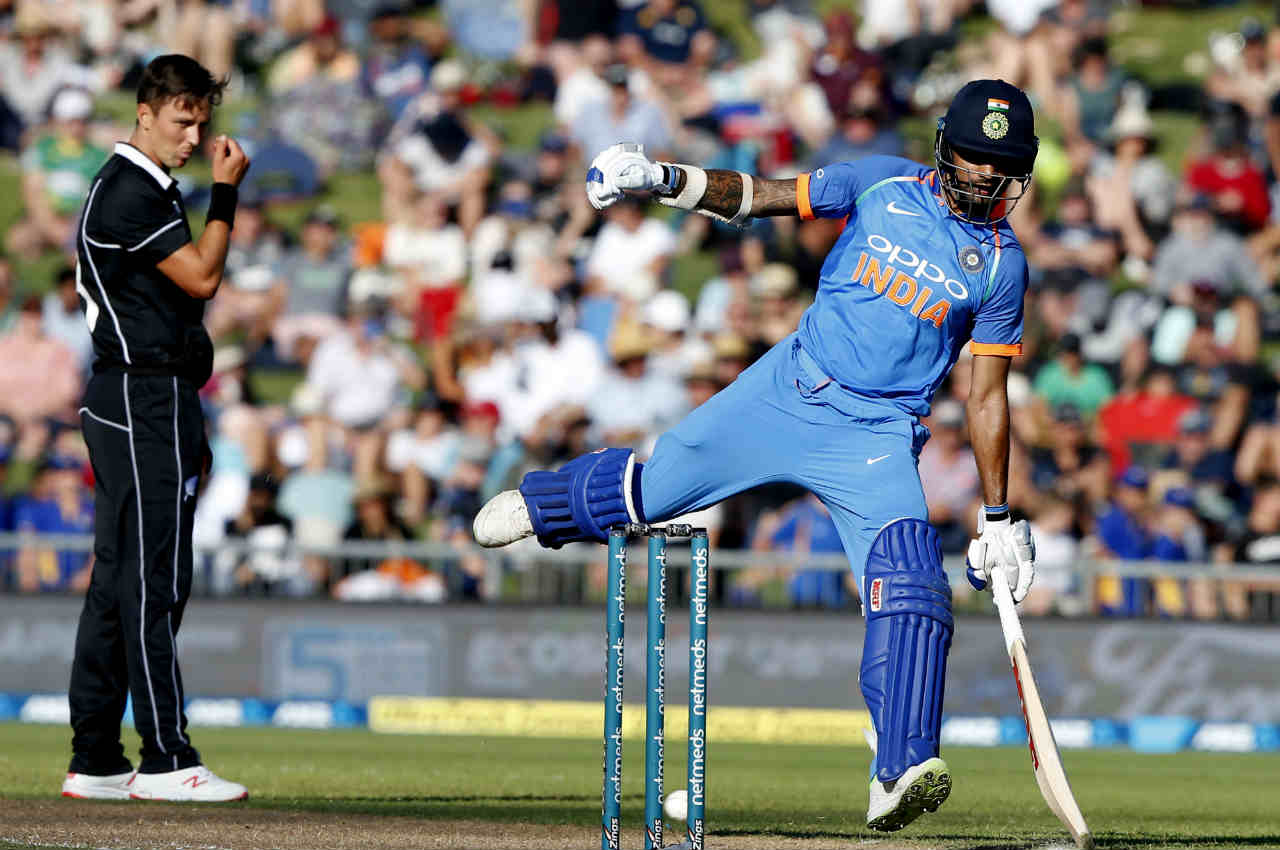 NZ getting bowled out in 38 overs meant that the Indian innings started early. Indian openers Shikhar Dhawan and Rohit Sharma batted with a mix of caution and aggression to take their team to 41/0 before the players walked off for the Dinner break. (Image: AP)