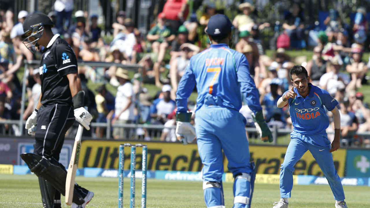 After Shami, it was Yuzvendra Chahal's turn to further dent the Kiwi innings. Chahal dismissed a well set Ross Taylor on 24 and Tom Latham on 11. Both the batsmen were caught and bowled. As Latham walked back New Zealand were 76/4 after 19 overs. (Image: AP)