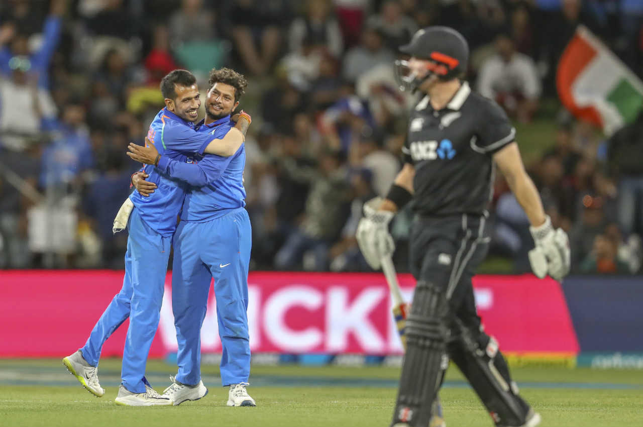Kuldeep continued to annoy the home side as he picked two wickets in the 30th over to almost seal the match for the visitors. The spinner first got Henry Nicholls caught my Mohammed Shami and then castled Ish Sodhi on the very next ball to leave NZ 166/8. Kuldeep finished with figures of 4/45 from 10 overs. (Image: AP)