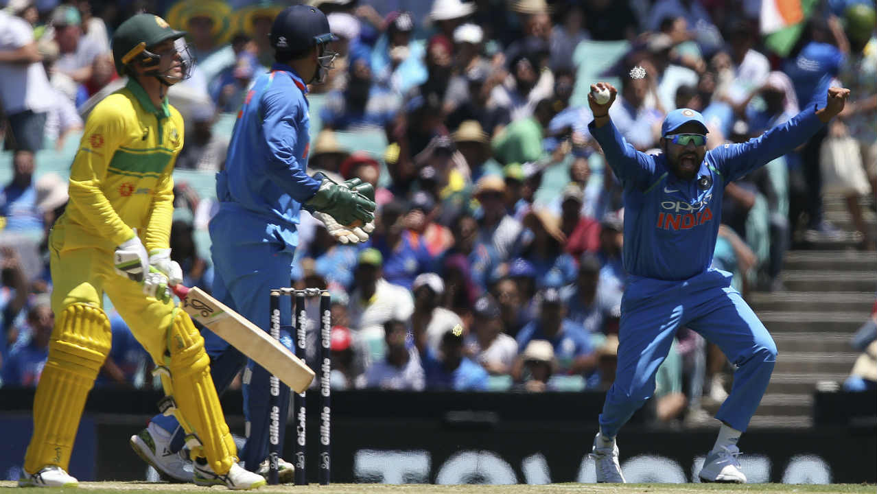 It was a double whammy for the home side inside the first 10 overs as Kuldeep Yadav got Alex Carey caught at first slip by Rohit Sharma. Carey made 24 and Australia were 41/2 at loss of Carey's wicket. (Image: AP)